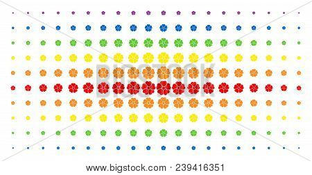 Flower Icon Spectrum Halftone Pattern. Vector Flower Shapes Are Organized Into Halftone Matrix With