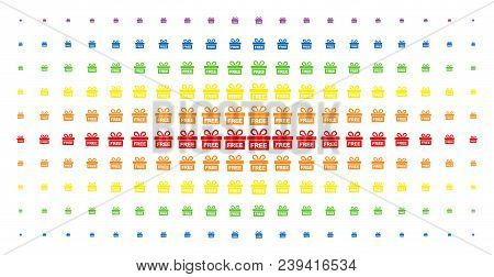 Free Gift Icon Spectrum Halftone Pattern. Vector Free Gift Pictograms Are Organized Into Halftone Ma