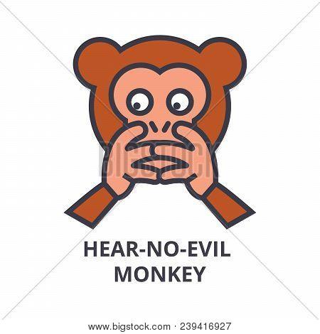 Hear No Evil Emoji Vector Line Icon, Sign, Illustration On White Background, Editable Strokes