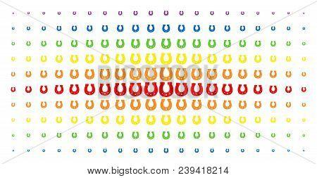 Horseshoe Icon Spectrum Halftone Pattern. Vector Horseshoe Objects Are Arranged Into Halftone Array
