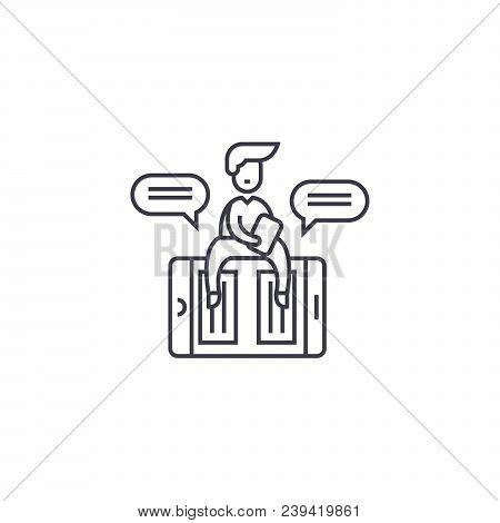 Online Copywriter Vector Line Icon, Sign, Illustration On White Background, Editable Strokes
