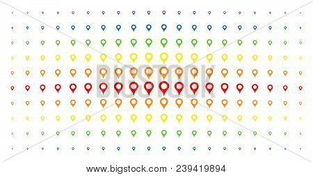 Map Marker Icon Spectrum Halftone Pattern. Vector Map Marker Pictograms Are Arranged Into Halftone G