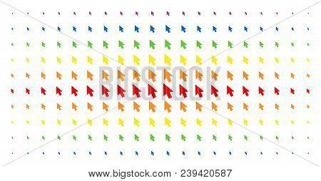 Mouse Cursor Icon Spectrum Halftone Pattern. Vector Mouse Cursor Symbols Are Arranged Into Halftone