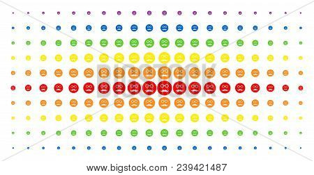 Pension Smiley Icon Spectral Halftone Pattern. Vector Pension Smiley Shapes Are Arranged Into Halfto