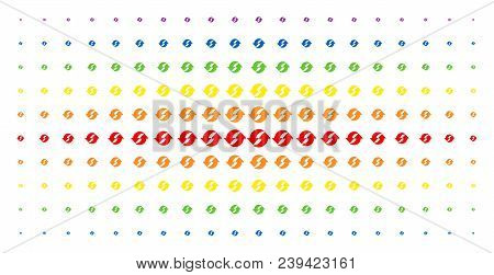 Refresh Icon Spectrum Halftone Pattern. Vector Refresh Symbols Are Arranged Into Halftone Matrix Wit