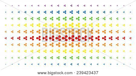 Ripple Currency Icon Spectral Halftone Pattern. Vector Ripple Currency Symbols Are Organized Into Ha