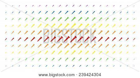 Screw Icon Spectrum Halftone Pattern. Vector Screw Pictograms Are Organized Into Halftone Matrix Wit