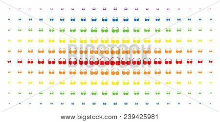 Spectacles Icon Rainbow Colored Halftone Pattern. Vector Spectacles Symbols Are Organized Into Halft