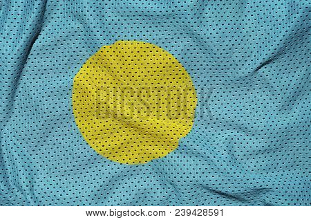 Palau flag printed on a polyester nylon sportswear mesh fabric with some folds poster