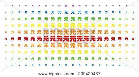 Yuan Renminbi Icon Spectrum Halftone Pattern. Vector Yuan Renminbi Items Are Arranged Into Halftone