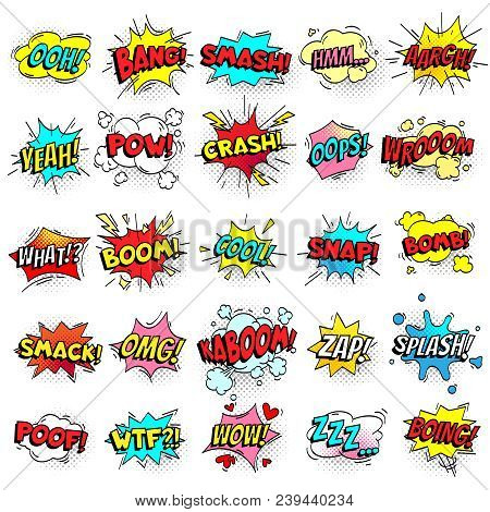 Exclamation Texting Comic Signs On Speech Bubbles. Cartoon Crash, Pow, Bomb, Wham, Oops And Cool Com