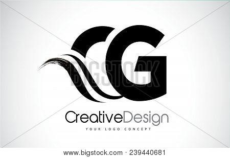 Cg C G Creative Modern Black Letters Logo Design With Brush Swoosh