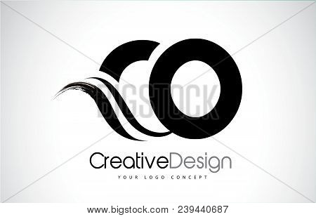 Co C O Creative Modern Black Letters Logo Design With Brush Swoosh