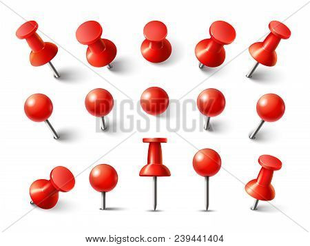 Red Pushpin Top View. Thumbtack For Note Attach Collection. Realistic 3d Push Pins Pinned In Differe