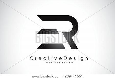 Er E R Letter Logo Design In Black Colors. Creative Modern Letters Vector Icon Logo Illustration.