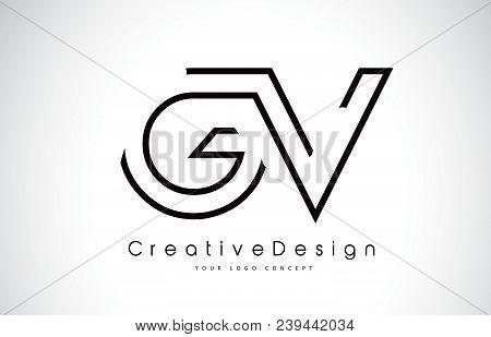 Gv G V Letter Logo Design In Black Colors. Creative Modern Letters Vector Icon Logo Illustration.