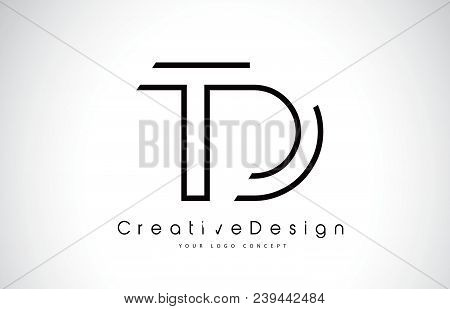 Td T D Letter Logo Design In Black Colors. Creative Modern Letters Vector Icon Logo Illustration.