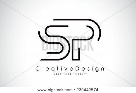 Sp S P Letter Logo Design In Black Colors. Creative Modern Letters Vector Icon Logo Illustration.