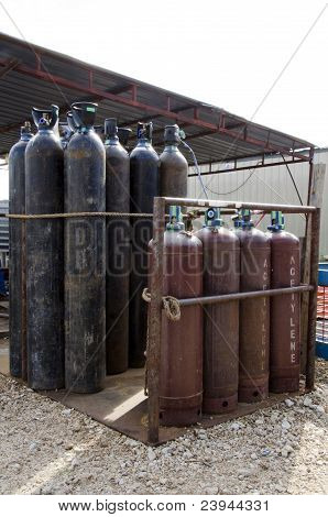 The Gas Cylinders Storage At The Work Site.