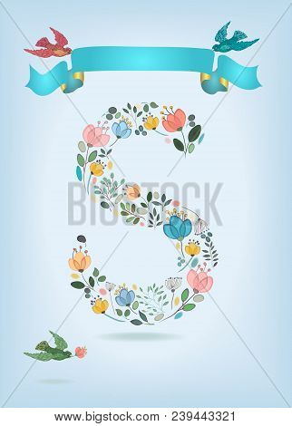 Floral Letter S With Blue Ribbon And Colorful Birds. Watercolor Graceful Flowers, Plants And Blurs.