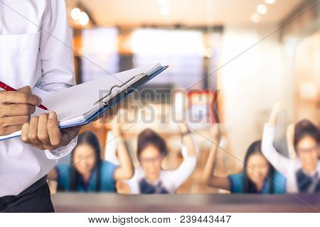 Man Writing On Notepad On Business Success Blurred Background Metaphor  For Team Successful Meeting