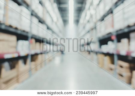 Blur Business Warehouse Store Background.product In Store Shelf. Dropshipping Warehouse