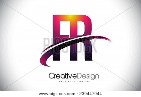 Fr F R Purple Letter Logo With Swoosh Design. Creative Magenta Modern Letters Vector Logo Illustrati