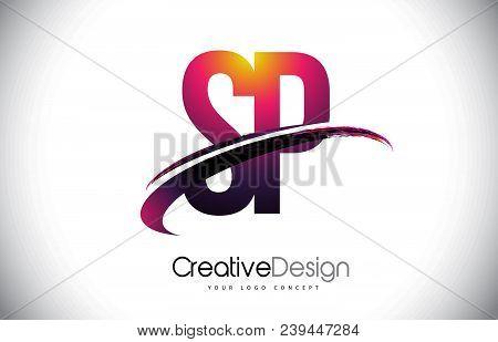 Sp S P Purple Letter Logo With Swoosh Design. Creative Magenta Modern Letters Vector Logo Illustrati