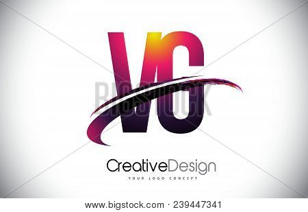 Vg V G Purple Letter Logo With Swoosh Design. Creative Magenta Modern Letters Vector Logo Illustrati