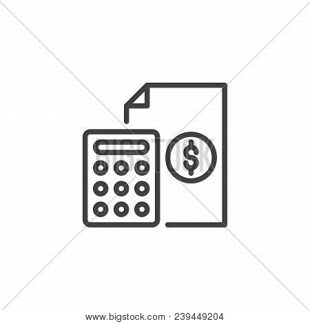 Calculator And Financial Document Outline Icon. Linear Style Sign For Mobile Concept And Web Design.