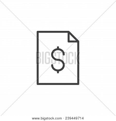 Dollar File Document Outline Icon. Linear Style Sign For Mobile Concept And Web Design. Account Stat