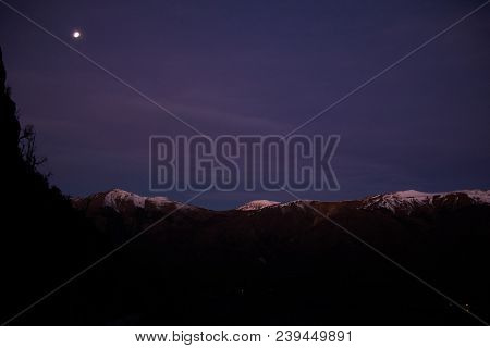 Moon View In Bariloche - Argentina; Mountainrange With Snow