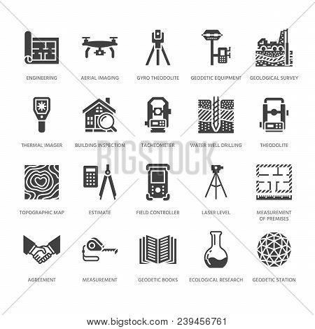 Geodetic Survey Engineering Vector Flat Glyph Icons. Geodesy Equipment, Tacheometer, Theodolite. Geo