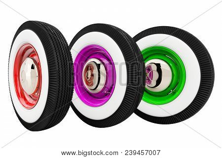 Three Wheels Retro Isolated On White Background. 3d Render