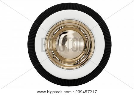 Wheel Nickel Plated Retro Car Isolated On White Background. 3d Render