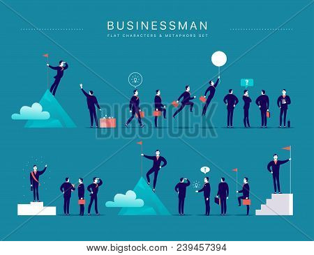 Vector Flat Illustration With Businessman Office Characters & Metaphors Isolated On Blue Background.