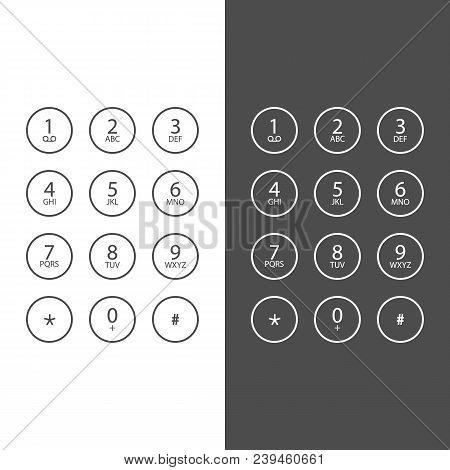 Keypad For On Smartphone. Keyboard Template In Smartphone. In Black And White Style. Keypad For A To
