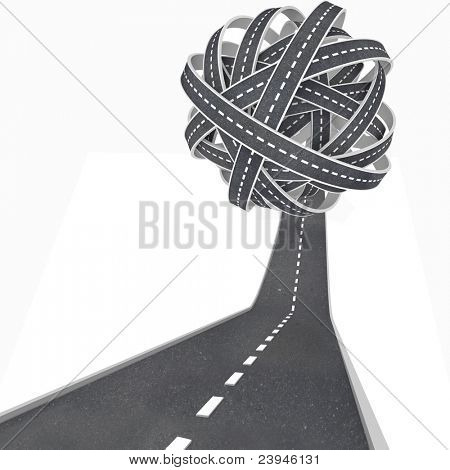 Confusing travel and transportation symbolized by an asphalt road rising upward into a tangled ball of pavement leading nowhere