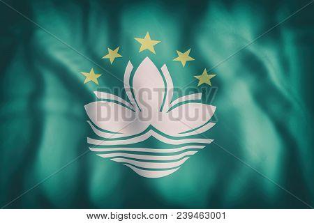 3d Rendering Of An Old Macau Flag Waving