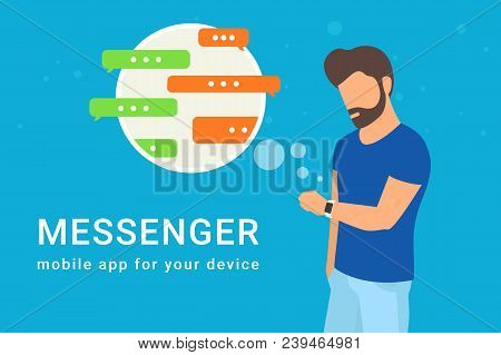 Man Using His Smart Intelligence Watch And Sending Messages To Friends Via Messenger App. Flat Illus