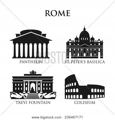 Set Of Italy Symbols, Landmarks In Black And White. Vector Illustration. Rome, Italy. Pantheon, St.