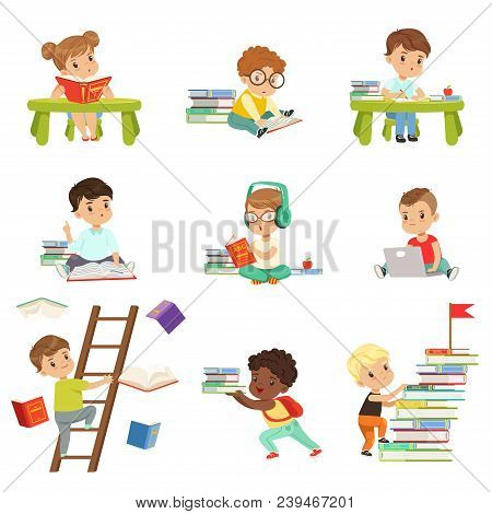 Smart Little Kids Reading Books Set, Cute Preschool Children Learning And Studying Vector Illustrati