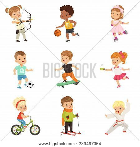 Cute Little Children Playing Different Sports, Soccer, Basketball, Archery, Karate, Cycling, Roller