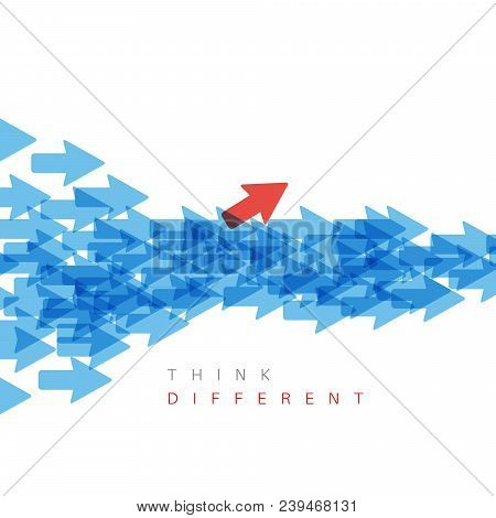Unique Individuality Concept Vector Illustration - One Arrow Pointing To A Different Direction
