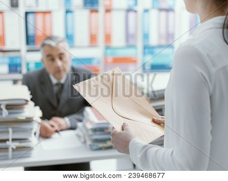 Demanding boss pointing to his watch and asking to his employee to hurry up, his secretary is frustrated and overwhelmed by work: business and deadlines concept poster