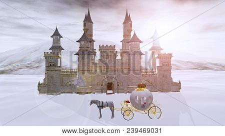 3d Rendering Of A Fairy Tale Fantasy Winter Castle With A Unicorn Dream Carriage Waiting Outside.