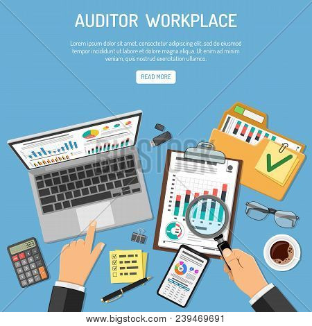 Auditor Workplace, Auditing, Business Accounting Concept. Auditor Holds Magnifier In Hand And Checks