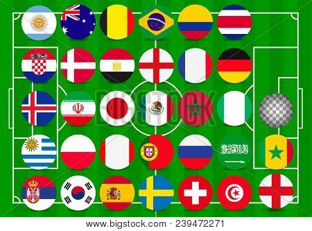 World Cup 2018, All Qualified Teams Flags 32 Team