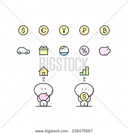 Funny Cute Man With Piggy Bank, Dollar, Euro, Yen, Ruble, Bitcoin, House, Graph, Car And Others Symb