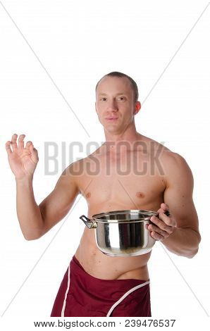 Sexy Shirtless Cook And Pan. Handsome Man Shirtless Is Holding A Pan. White Background.